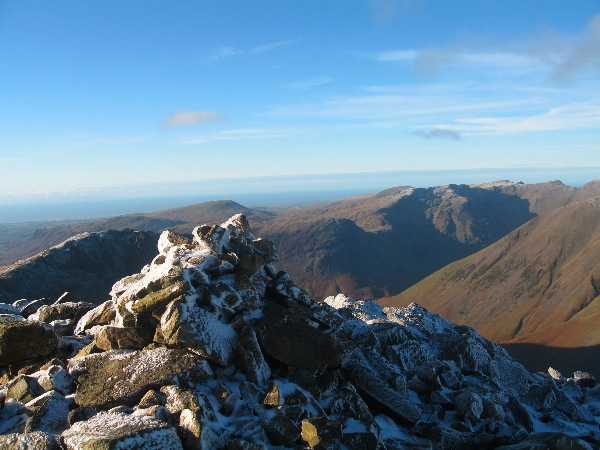 Great End summit, over looking Lingmell, Seatallan, Yewbarrow, Red Pike etc.