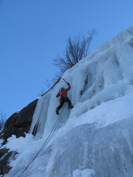 Pete doing his usual stuff on vertical ice