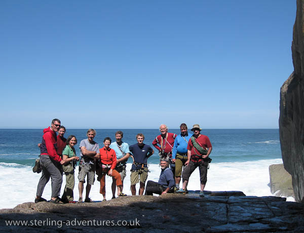 Pete, Laetitia, Daphne, Iain, Fiona, Mike, Bob, Pete, Frank, Andy, and Toni at the base of the Great Zawn, Bosigran