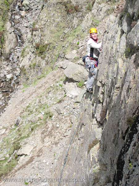 Ian catches the sun on Slabs Route