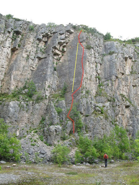 The foreshortened line of <i>Terminal Trajectory</i> shown in yellow, the red line is from a previous visit when we did <i>Deceptive Bends</i>