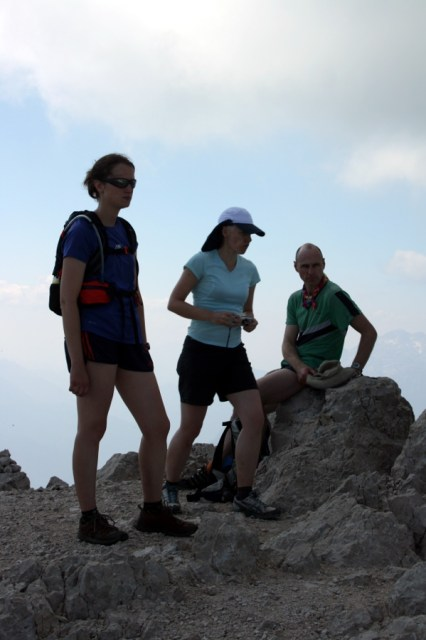 Rachel, Catherine and Tony at the summit of Krn.