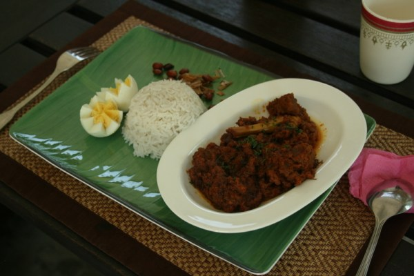 Beef rendang and Nasi Lemak.