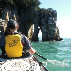 Paddling towards the arch at Abel Tasman Point.