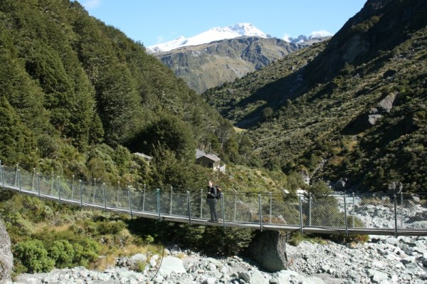 Swing bridge over Snowy Creek, with Dart Hut behind. This was taken from our Day three campsite.