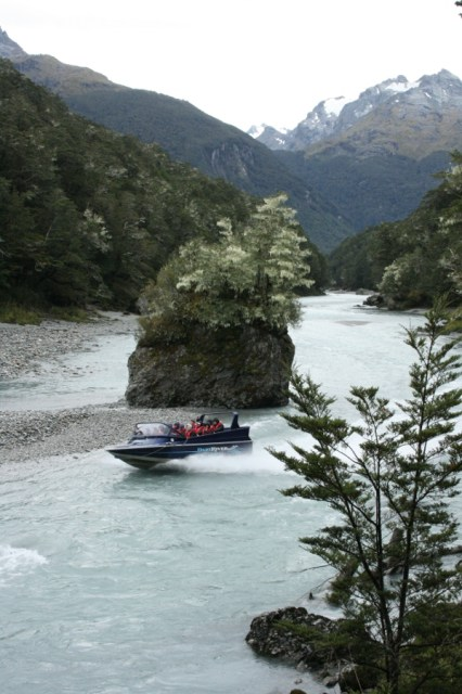 The Dart River jetboat going through the gorge below Sandy Bluff.