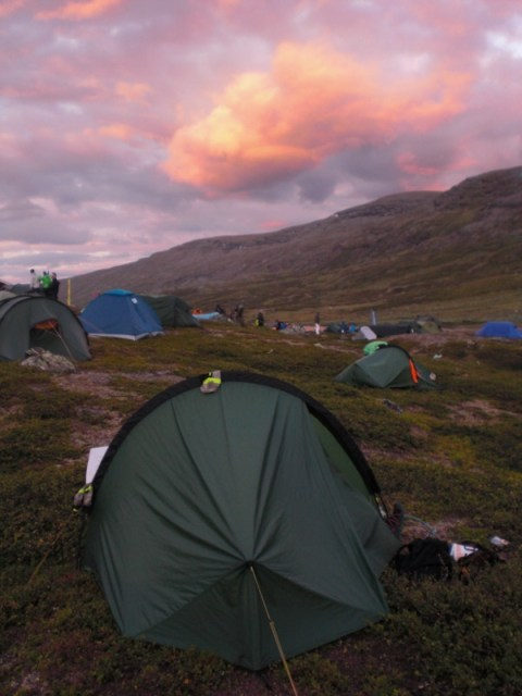 Sunset over the mid-camp.