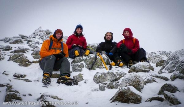 Pete, Helen, Kris, and Laetitia on Wetherlam Summit