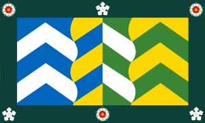 A Cumbrian flag with a chevron style design!