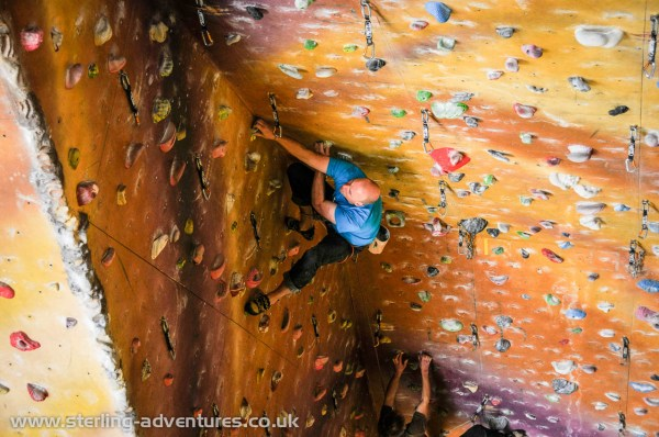 Richard leading one of the longest indoor routes in the UK at the Lakeland Climbing Centre