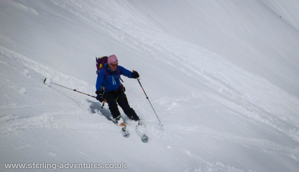 Ian enjoying the last of the powder as we descend the Valleé Blanche