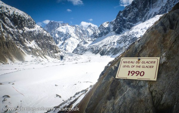 The level of the glacier in 1990!  Just 23 years ago the Mer de Glace was here - who can deny Global Warming?