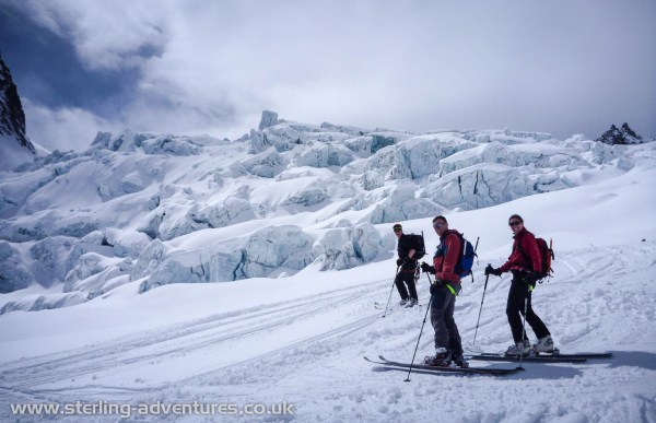 Chris, Pete, and Laetitia below the Geant Ice Fall