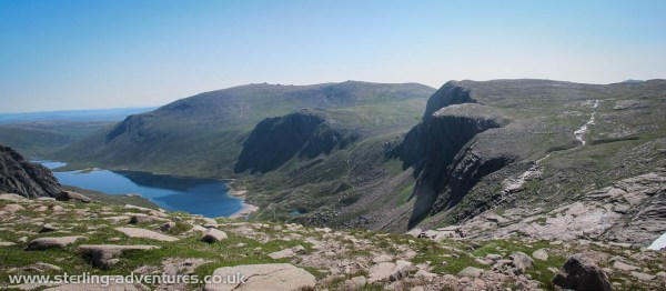A view of Shelterstone Crags and Loch Avon