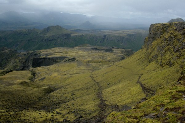 Looking down from the plateau at the long ridge leading to Basar hut.