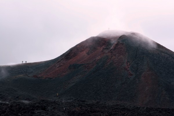 Looking across at the steaming summit of Magni.