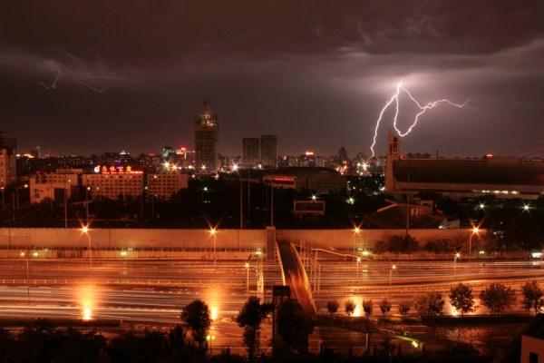 Lightning strikes over Beijing.