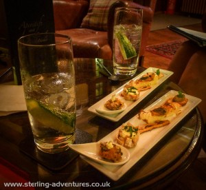 Hors d'oeuvres and Hendrick's gin & tonic