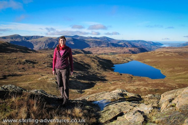 Looking north towards Bassenthwaite, Laetitia enjoying the sun on top of Standing Crag