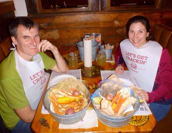 Ready to tuck in to a bucket of crabs at Joe's Crab Shack
