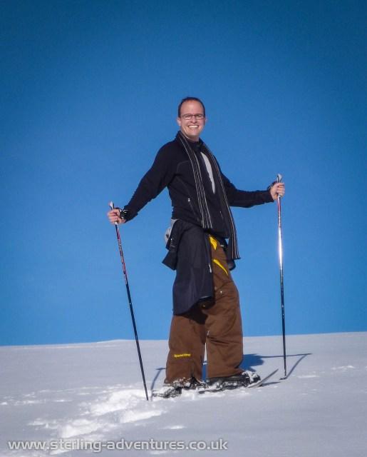 Mathias snow-shoeing up the Spießhorn