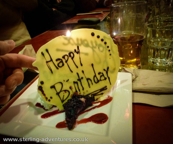 Birthday cake!  :yum: :yum:  With a slab of chocolate, sparklers, and a candle; if only it were just one candle needed to mark the years!