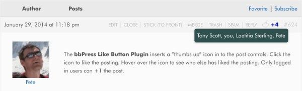 "Example screenshot of the bbPress Like Button Plugin showing the ""Thumbs Up"" icon and those who have liked this post."