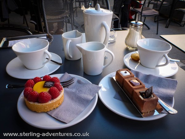 A big reward - tea and cake at Aux Petits Goumands.