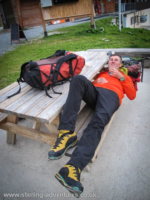 Pete taking a rest on the descent - all the way from the summit of Aiguille du Chardonnet back to Le Tour (we missed the last lifts) - at the Charamillon lift station