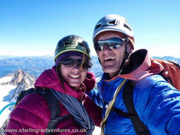 A selfie of Laetitia and Pete on the summit of Aiguille du Chardonnet