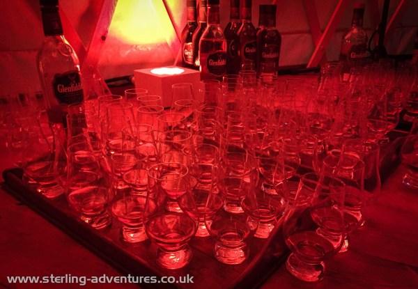 Dozens of glasses of Glenfiddich Whisky