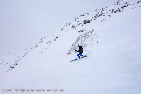 Pete skiing in the deserted Combe Pendant at Grand Montets