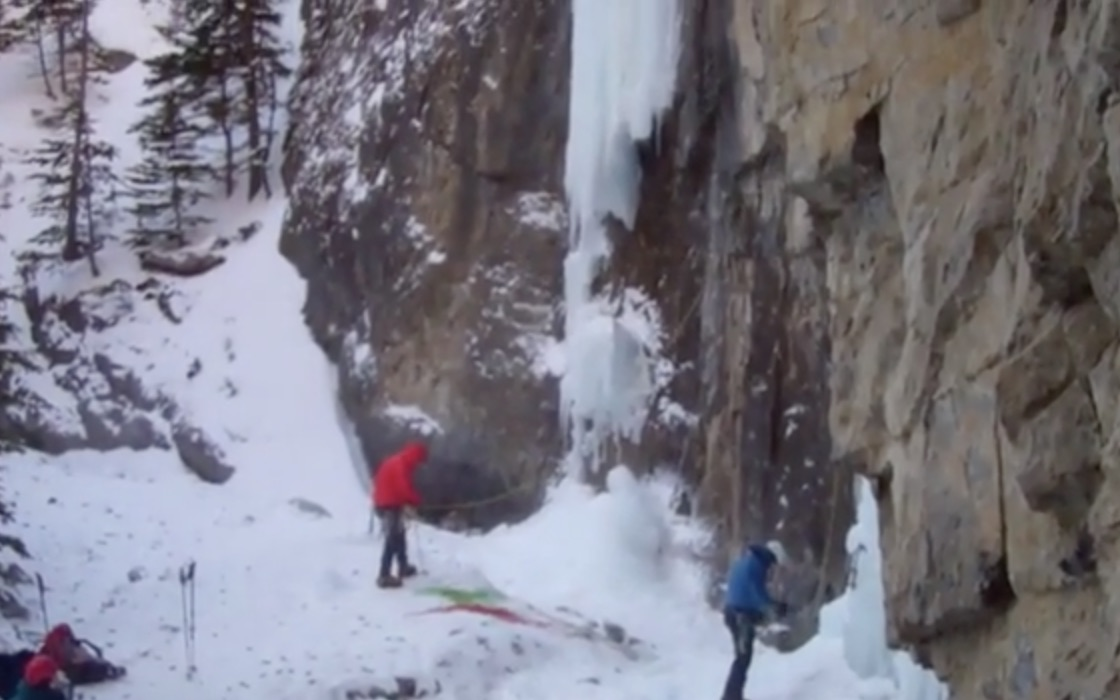 Grotto Falls ice climb in the Canadian Rockies