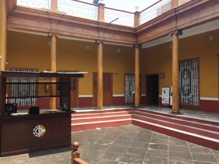 The inside courtyard of the office.