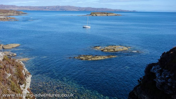 The Countess of Sleat anchored off Skye waiting for us while we climbed at Suidhe Biorach