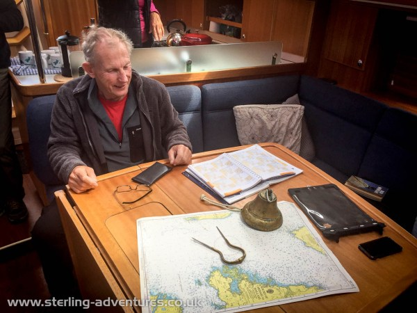 David putting together his passage plan from Mallaig to Skye