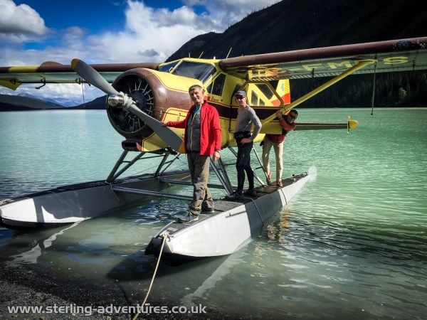 Ted, Steve, and Pete disembarking from the beaver float plane at Glacier Lake