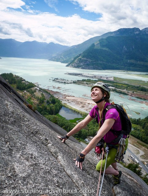 Laetitia on Banana Peel, a fun final eight pitch route for us at Squamish...
