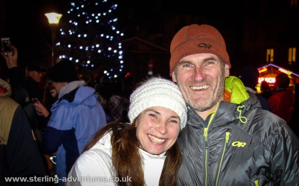 Laetitia and Pete out in Chamonix centre seeing in the New Year