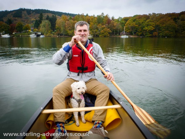 Pete and Zac head out on to lake Windermere in the canoe