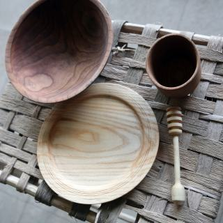 handcrafted wooden tools and dish ware