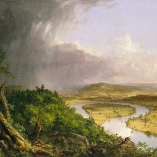 Painting by artist Thomas Cole titled The Oxbox. Shows Connecticut River and surrounding landscape on stormy day