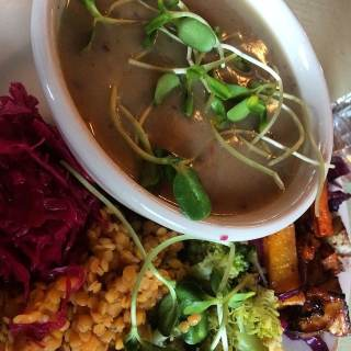 Various vegetables and a broth soup