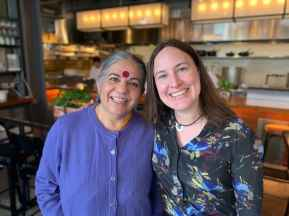 Dr. Vandana Shiva stands with Ashley Kidd. Ashley is on the Sterling College Board of Advisors and is program director of Grants and Research at the Endeavor Foundation.