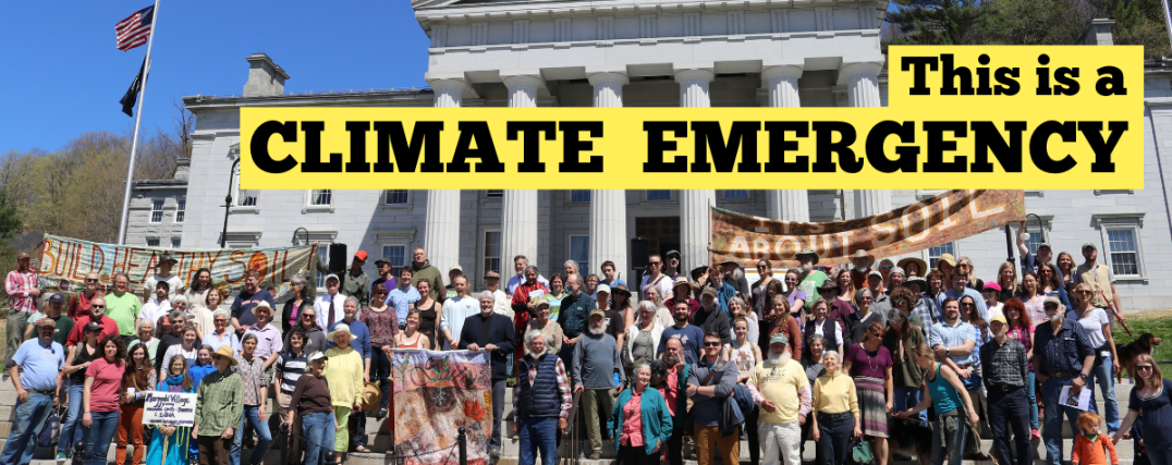 Advocates of a poison free future stand on the capitol steps in Vermont