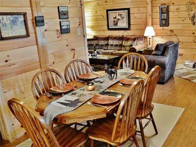 dining room/living room of wilderness cabin