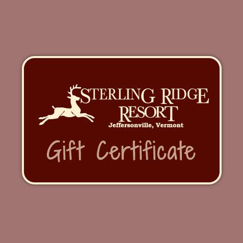 Gift Certificate to Sterling Ridge Resort, Jeffersonville, VT