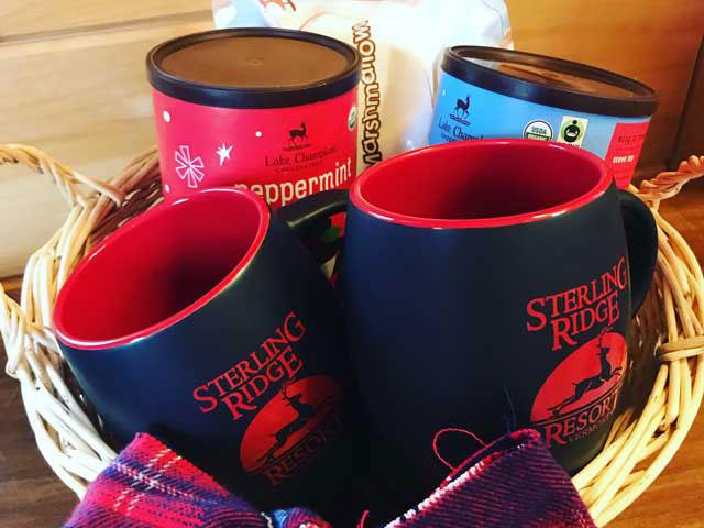 Sterling Ridge Resort mugs & Lake Champlain Chocolates Cocoa