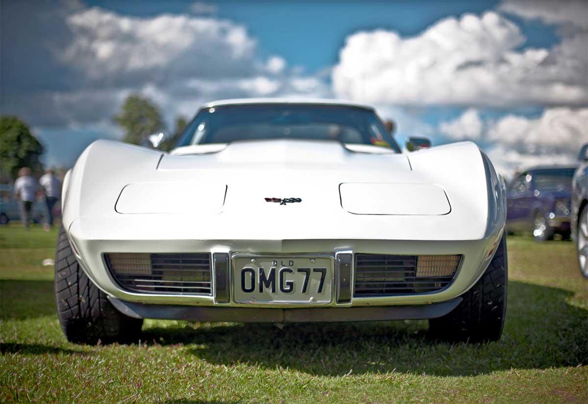 White corvette for classic car show in Waterbury Vermont