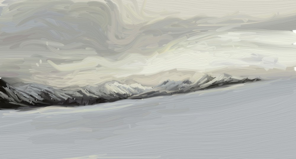 ipad artrage painting of a winter wonderland